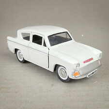 Creamy White Diecast 1:32 Ford Anglia 1960 Model Car  Pull Back Friction Drive