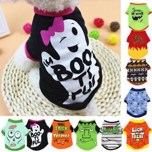 Dog Cat Cotton T-shirt Vest Small Pet Cartoon Halloween Costume Shirt Clothes