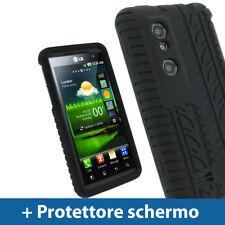 Nero Custodia Pneumatico per LG Optimus 3D P920 Android Silicone Skin Case Cover