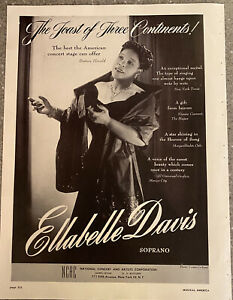 Ellabelle Davis Authentic Vintage 1949 Tour Booking Trade  Print Ad Soprano
