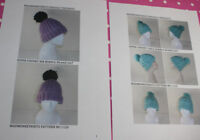 BARGAIN 2 X PRINTED KNITTING PATTERN-INSTRUCTIONS-SUPERCHUNKY BOBBLE BEANIE HATS