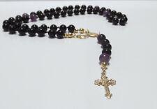 Rosenkranz Kette Rosario Echt 925 Silber vergold.Obsidian Amethyst Kreuz Madonna