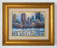 Wollman Rink Original Signed Framed Oil on Canvas Painting | Free Shipping