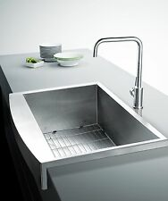 "33"" 16 Gauge Stainless Steel Handmade Farmhouse Apron Single Bowl Kitchen Sink"
