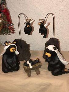 Beartivity Bearfoots Jeff Fleming Big Sky Carvers Complete 7 Piece Nativity Set