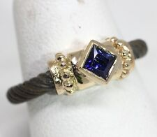 Blue sapphire designer ring 14 karat yellow gold with sterlingsilver band size 6