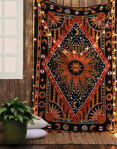 Indian Ethnic Queen Size Cotton Wall Hanging Tapestry Handmade Bedspread Decor