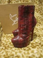 CHRISTIAN LOUBOUTIN DAF BOOTY RED 160 SNAKE SKIN HEEL SHOES 35.5 5.5 B NEW $2995