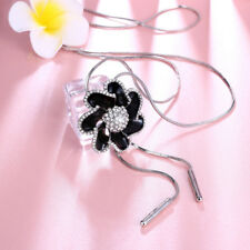18K White Gold Plated CZ Crystal Black Flower Pendant Long Chain Necklace