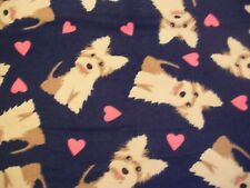 Scottish Terriers - Snuggle Flannel Fabric BTY - Puppy Dogs and Hearts on Navy