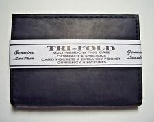 100% Genuine Leather - Men's Wallet Tri-Fold - Black