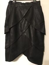 MAX MOSER COLLECTION  BLACK GENUINE LEATHER TIER SKIRT SIZE 6