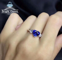 Natural Blue Sapphire Platinum Plated 925 Sterling Silver Adjustable Women Rings