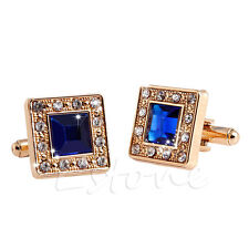 Gold Blue Square Crystal Cufflinks Rhinestone Men's Wedding Gift Cuff Links