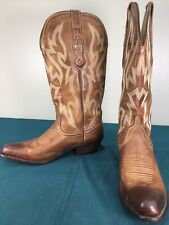 Used Nocona Brown Leather Embroidered Womens Western Cowgirl Boots sz 5 B