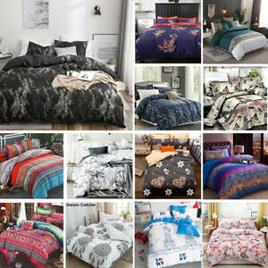2021 New Soft Doona Duvet Quilt Cover Set Single Double Queen King Size Bed