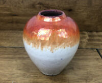 Vintage Pottery Vase Crackle Glaze Luster Finish Signed