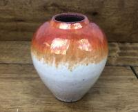 Vintage Pottery Vase Crackle Glaze Luster Finish Signed