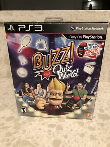 BUZZ! QUIZ WORLD Set PS3 PlayStation 3 Complete W/ 4 Buzzers And Dongle