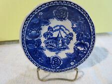 "Arabia Pottery Blue and White Transferware Landscape Butter Pat 3 1/8"" Finland"