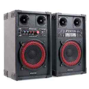 Aktiv DJ PA Lautsprecher Paar 8 Zoll Subwoofer Boxen Set 400 Watt Sound USB SD