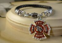 FIREFIGHTER MOM mother charm Black braided leather silver bracelet gift jewelry