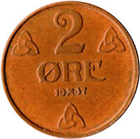 COIN / NORWAY / 2 ORE 1937  #WT1787