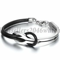Mens Womens Stainless Steel Buckle Love Infinity Leather Cuff Bangle Bracelet