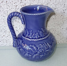 "Majolica Bordallo Pinheiro Shell Fish Cerulean Blue 7"" Pitcher Portugal Pottery"