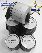 DK-2205 Brother P-Touch Compatible Labels 4 Rolls Includes 2 Reusable Cartridges