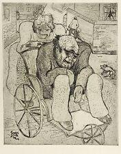 HEINRICH EHMSEN - Rollstuhl - Radierung 1923/1970