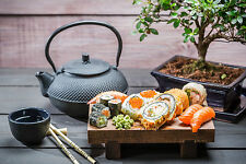 Framed Print - Japanese Sushi Platter with Tea Pot and Cup (Picture Poster Art)