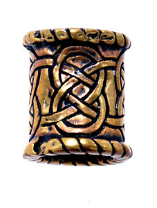 Bartperle Haarperle Bronze Keltenknoten keltische Knoten Stück/Paar 8mm 607