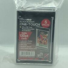 (5) Ultra Pro Black Border One-Touch Gold Magnetic 130pt Holder Ultra Clear