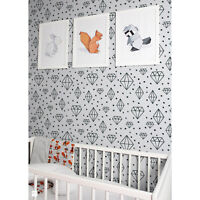 Hand Drawn Diamonds and dots Black & White removable wallpaper Wall Mural