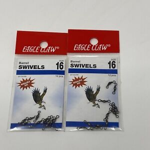 Eagle Claw Barrel Swivels Size 16 01112-016 2 Packs 12 Each 24 Total
