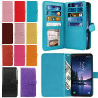 For Samsung Galaxy S8 ACTIVE G892A Multi Card PU Leather Wallet Cover Case Strap