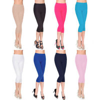 Women's Basic Solid Classic Gym Sports Capri Jeggings Soft Skinny Stretch Pants