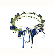 Royal blue & white Silk Poly Rose Halo Flower Girl Head Piece Band Green Leaves