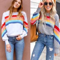 Women's Rainbow Striped Sweater Sweatshirt Ladies Puff Sleeve Pullover Jumpers