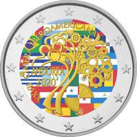 2 Euro Gedenkmünze Andorra 2020 coloriert / mit Farbe  Farbmünze Iberoamerika