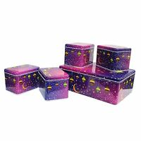 5 in 1 Ramadan Mubarak Iftar Hamper Gift Tins For Eid - Purple Crescent Moon