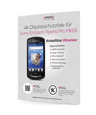 4x Displayschutzfolie für Sony Ericsson Xperia Pro MK16i Schutzfolie Clear Klar