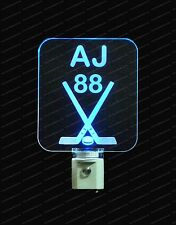 Kids Personalized Hockey Sticks LED Night Light, Customized with number and name