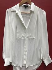 J Crew Small Top Drapey Tuxedo Shirt 6 Beige Ivory Pleated Flowy Blouse