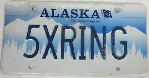 ALASKA VANITY licence/number plate US/United States/USA/American 5X RING