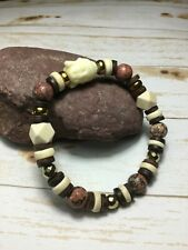 Handmade Leopard Jasper Stone Hematite Wood/Siddhartha Stretch Bracelet USA