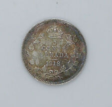1918 Canadian silver coin 5 cents EF-AU condition