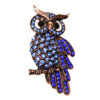 Fashion Owl Crystal/Rhinestone Brooches Pin vintage style Women/Men Jewelry-Blue