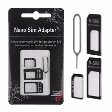 NANO TO MICRO STANDARD SIM CARD ADAPTER CONVERTER For iphone 6 TRAY PIN Black